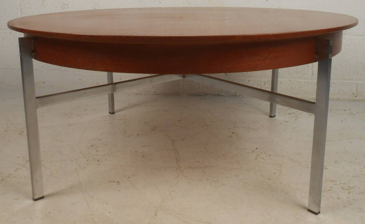 Mid Century Modern Teak And Chrome Coffee Table For Sale At 1stdibs