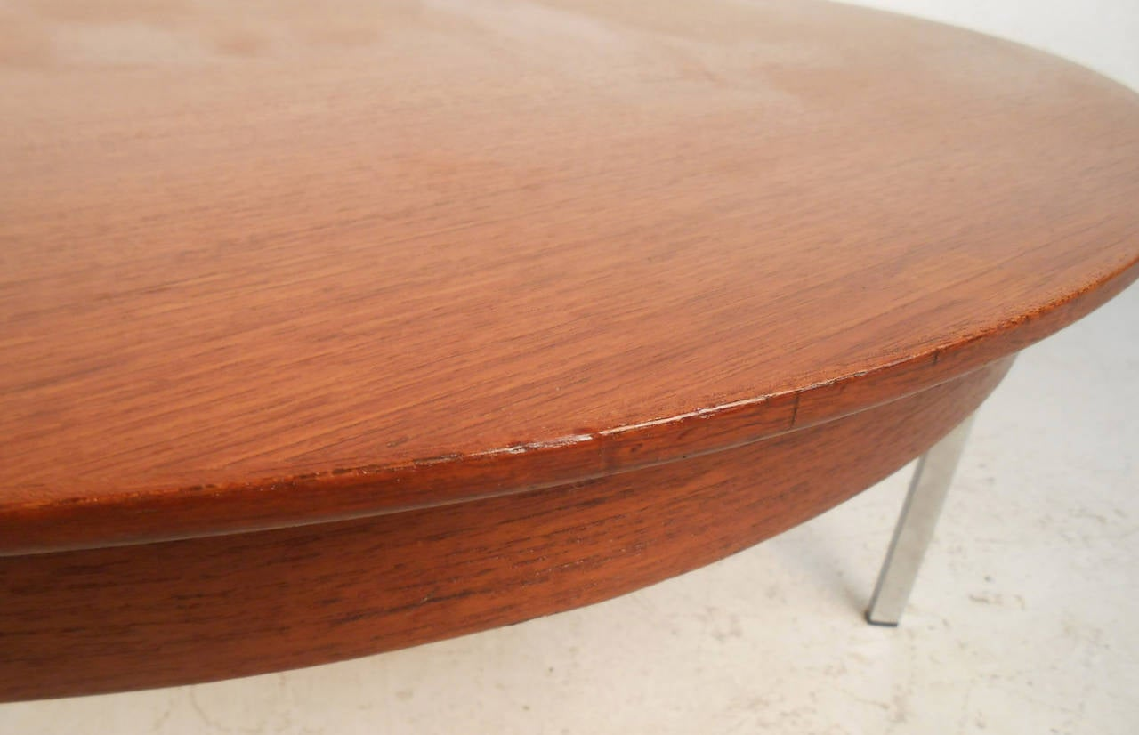 Mid century modern teak and chrome coffee table for sale at 1stdibs Modern teak coffee table