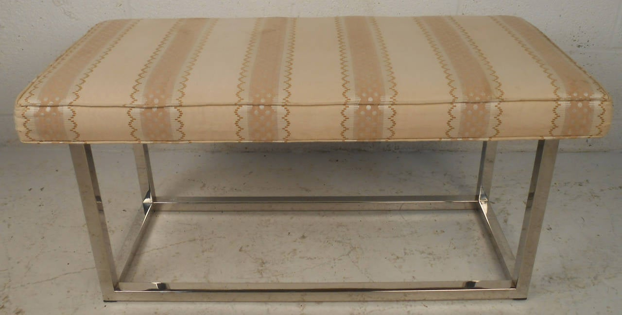 Mid-Century Modern Upholstered Bench with Solid Chrome Frame In Good Condition For Sale In Brooklyn, NY