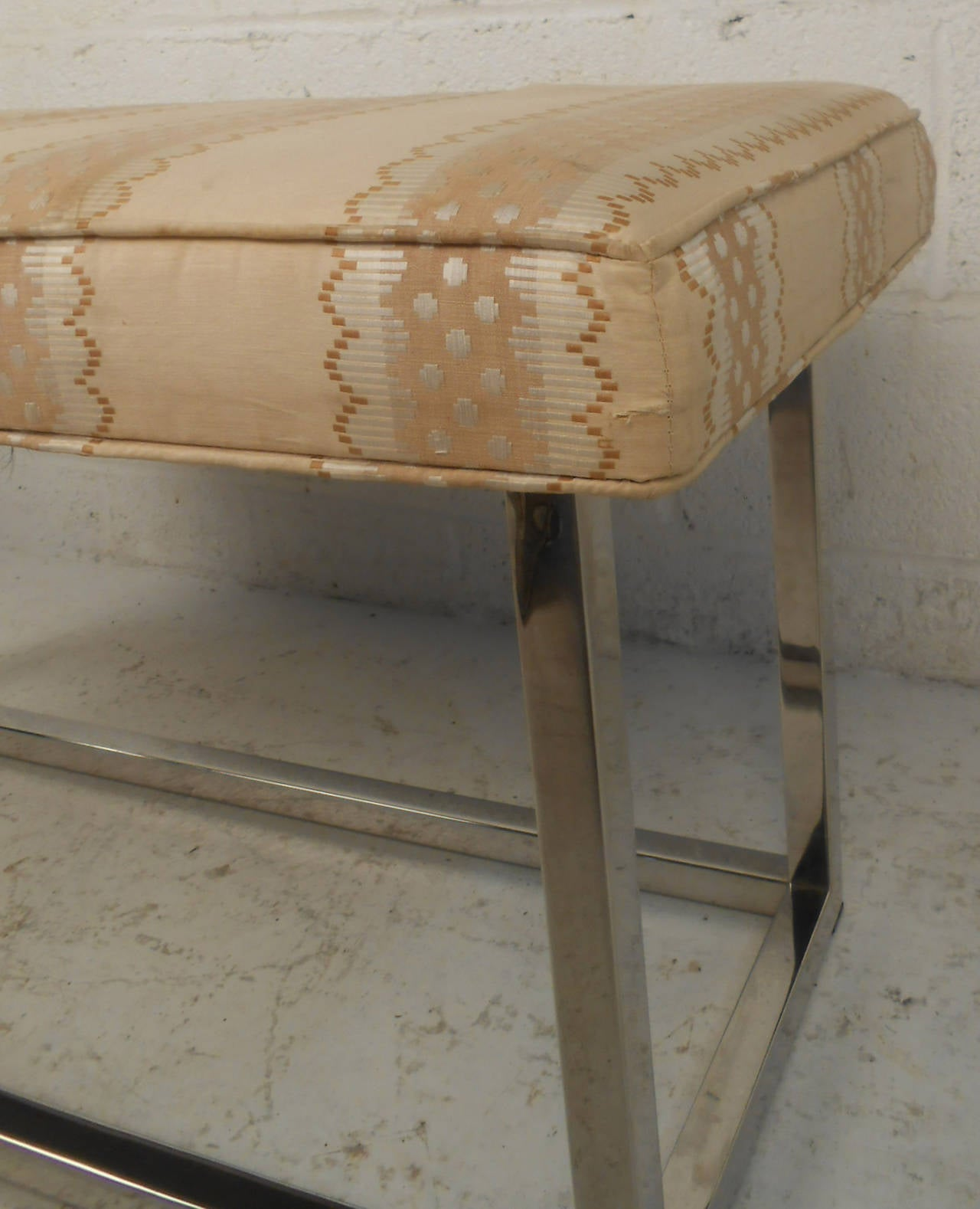 American Mid-Century Modern Upholstered Bench with Solid Chrome Frame For Sale