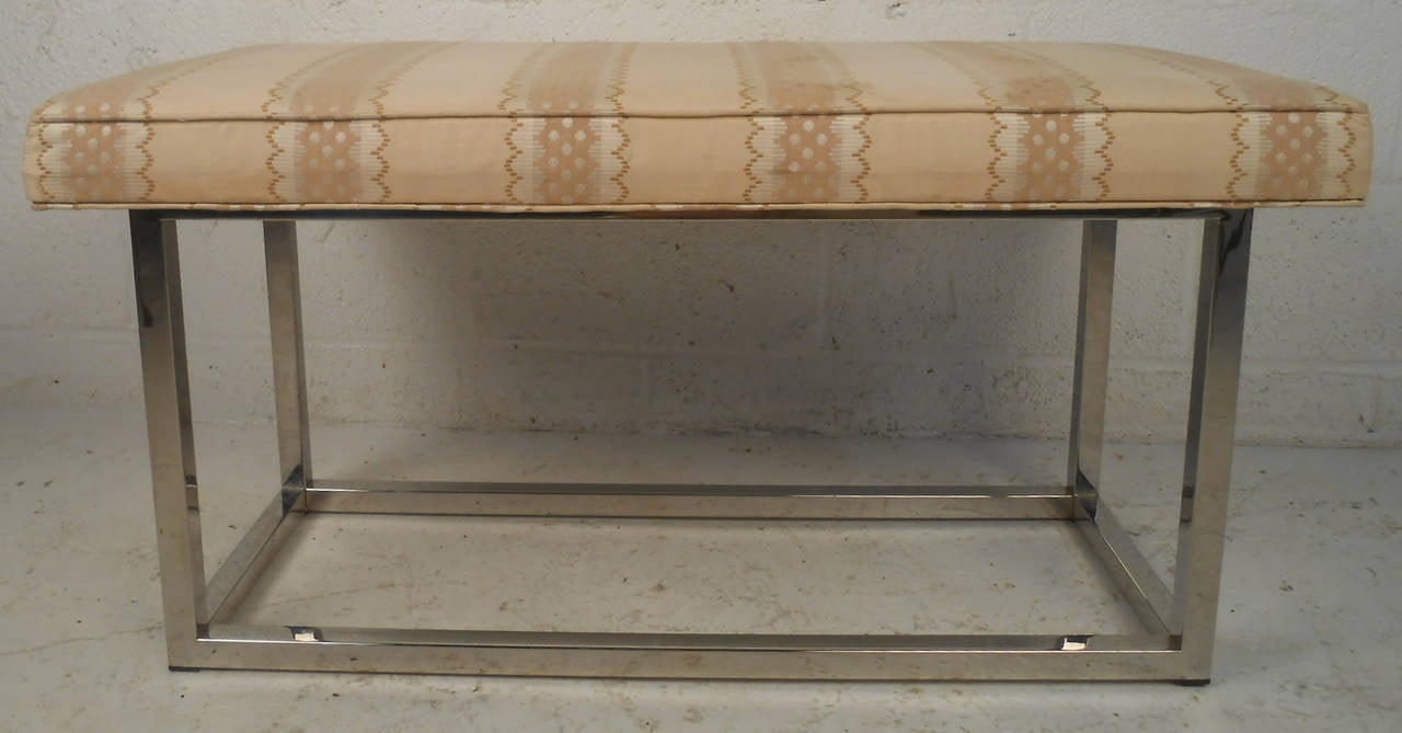 Mid-Century Modern Upholstered Bench with Solid Chrome Frame For Sale 3