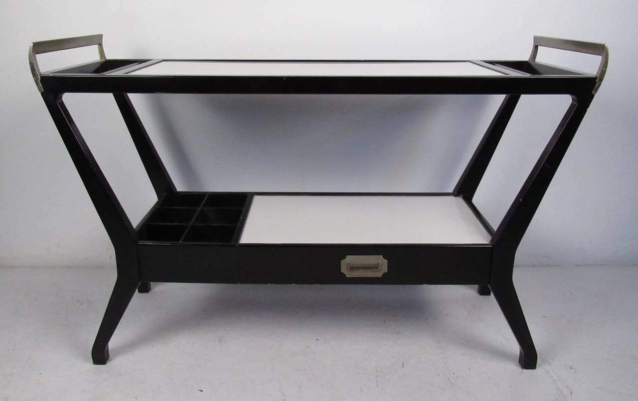 mid century bar cart from baker furniture at 1stdibs. Black Bedroom Furniture Sets. Home Design Ideas