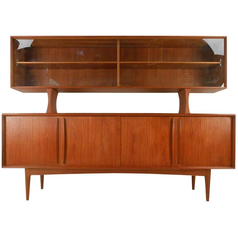 Danish Teak Sideboard With Top Display Shelf For Sale At 1stdibs