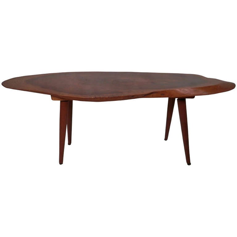 Neptune Cocktail Table Small Side Table w/ Distinct Live Edge By Roy Sheldon For Sale at ...