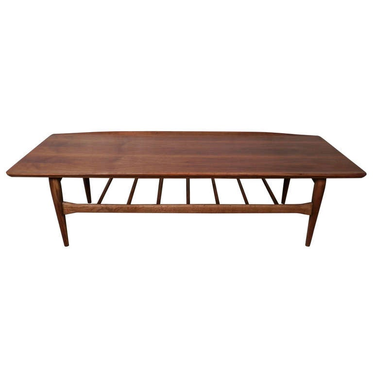 Curved Edge Glass Coffee Table: Attractive Curved Edge Table W/ Slat Shelf At 1stdibs