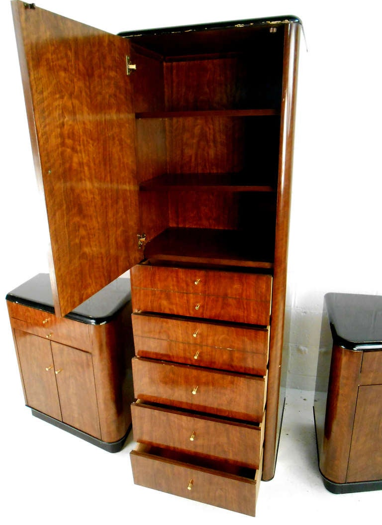 Mid Century Modern Walnut Wardrobe Set By Drexel For Sale