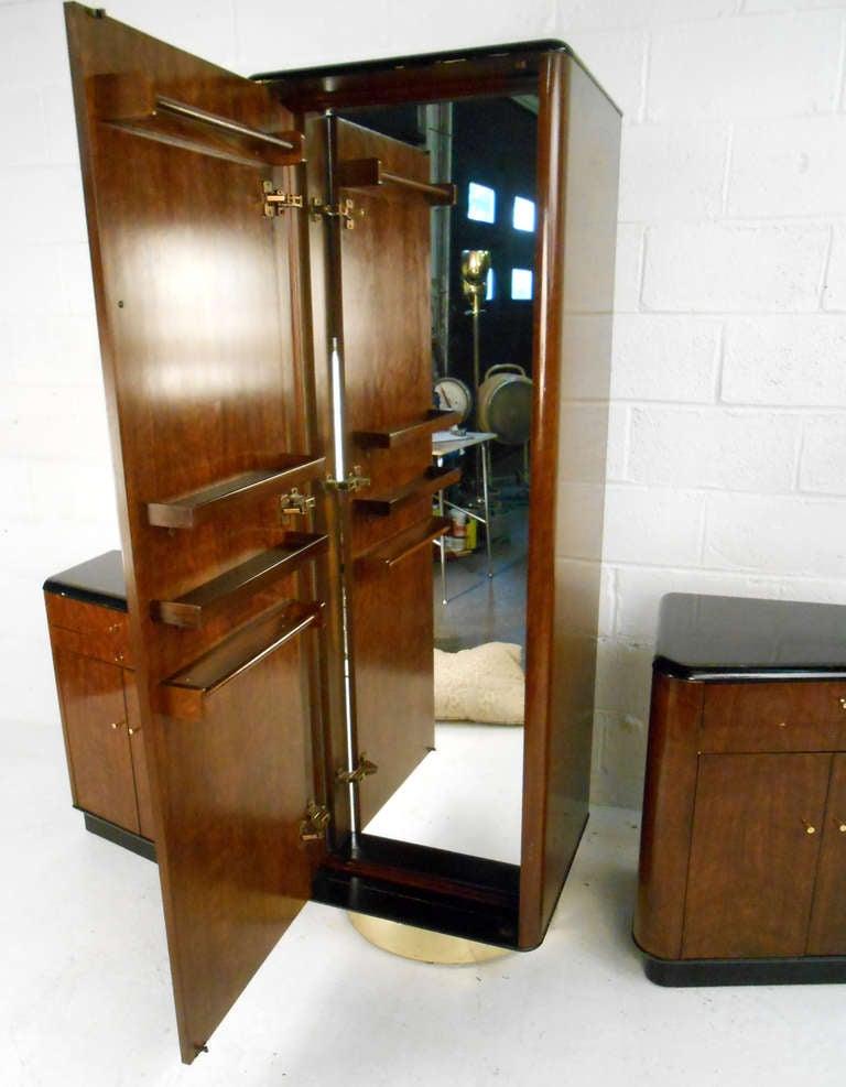 Mid Century Modern Walnut Wardrobe Set By Drexel For Sale