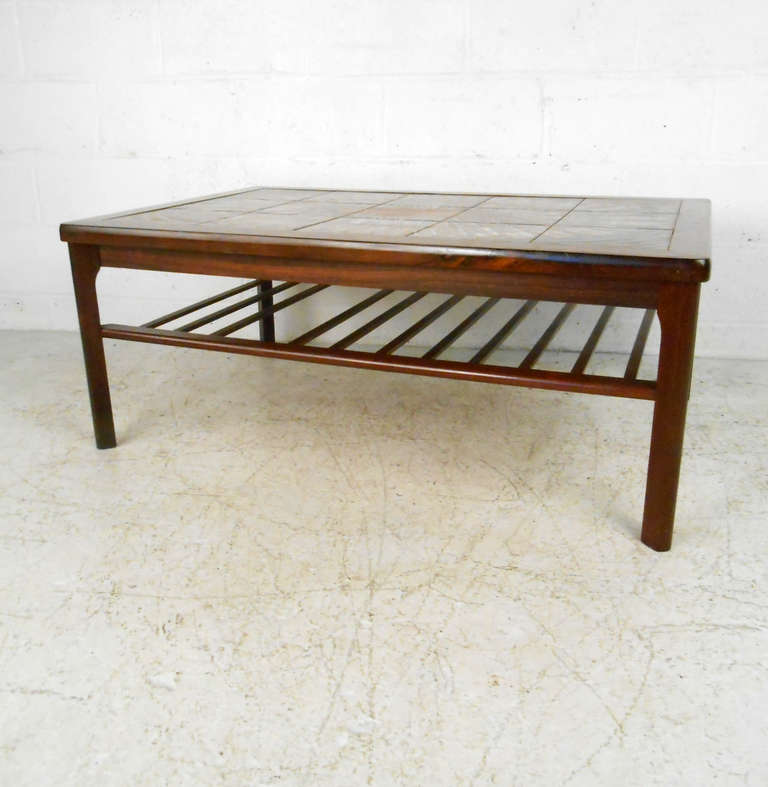 Mid-Century Modern Rosewood Coffee Table W/ Painted Tile