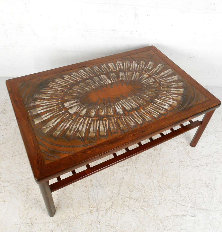 Century Modern Rosewood Coffee Table W Painted Tile Inlay At 1stdibs