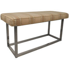 Mid-Century Modern Upholstered Bench with Solid Chrome Frame