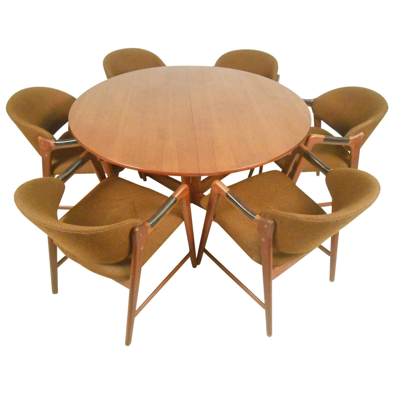 Mid century modern teak dining set with westnofa chairs for Designer dining chairs sale