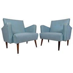 Pair of Mid-Century Modern Vinyl Lounge Chairs in the style of Paul McCobb
