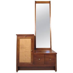 Mid-Century Modern Caned Cabinet with Mirror