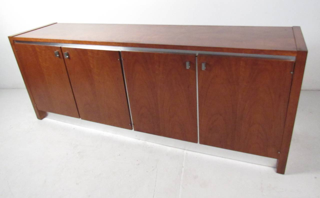 Walnut Mid-Century Credenza by Founders For Sale