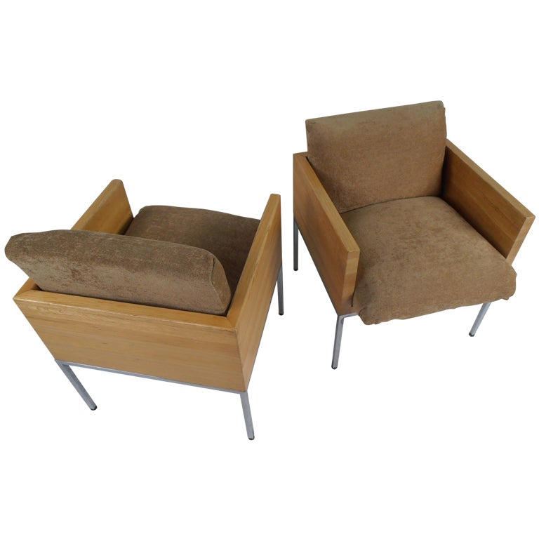 Pair of Vintage Modern Oak Frame Club Chairs