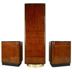 Mid-Century Modern Swivel Wardrobe with End Tables by Drexel