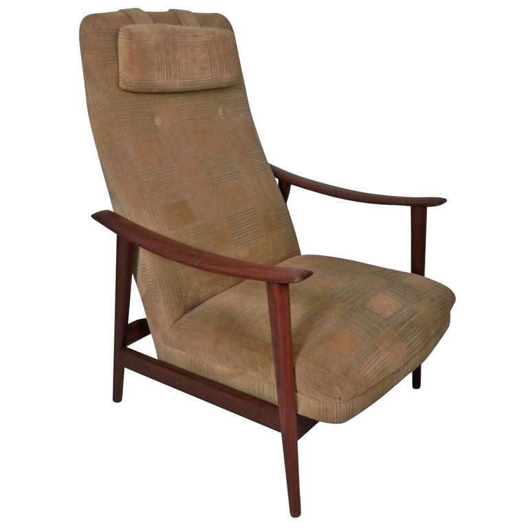 Milo Baughman Style Danish High Back Lounge Chair at 1stdibs