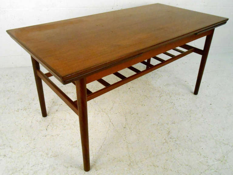 unique mid century modern draw leaf coffee table for sale. Black Bedroom Furniture Sets. Home Design Ideas