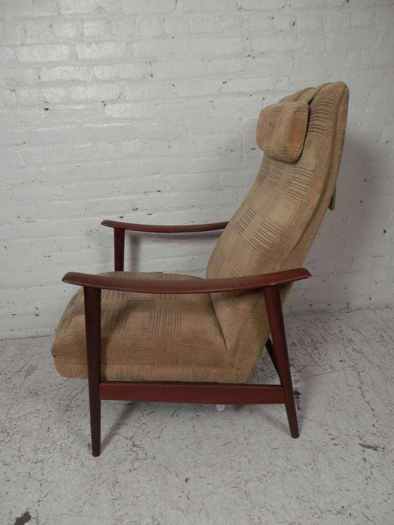 Milo Baughman Style Danish High Back Lounge Chair At 1stdibs