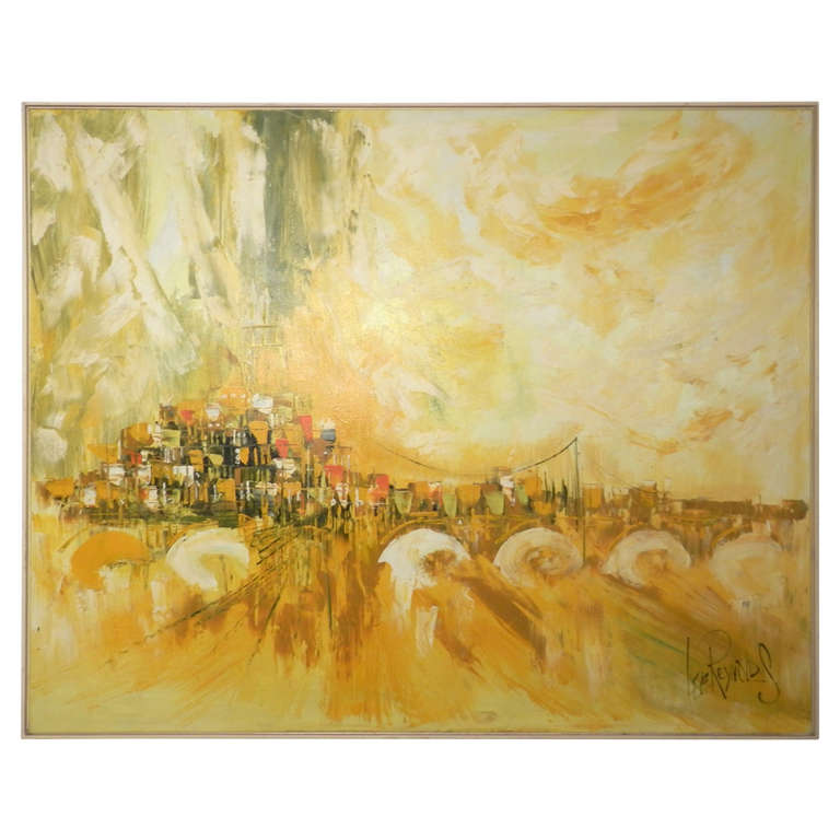 Large Lee Reynolds 20th Century Cityscape Oil Painting On