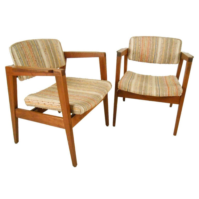 Mid Century Modern Pair of Walnut Frame Armchairs by