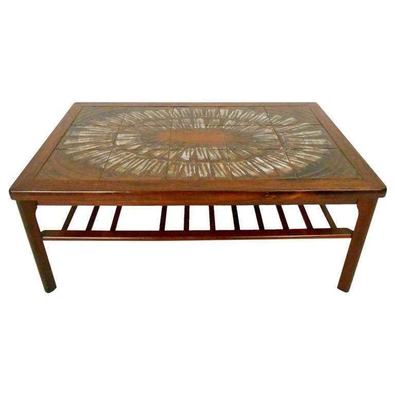 Lane Switchblade Coffee Table: Mid-Century Modern Rosewood Coffee Table W/ Painted Tile