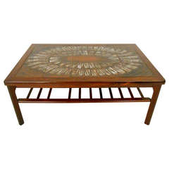 Mid-Century Modern Rosewood Coffee Table w/ Painted Tile Inlay