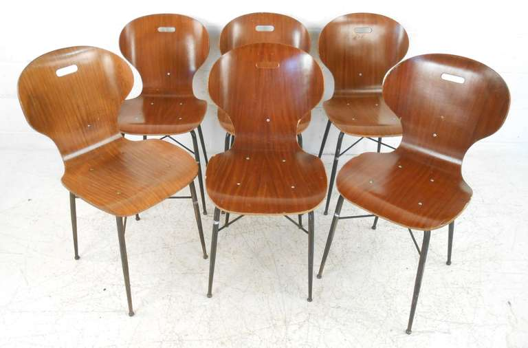 Marvelous Six Italian Mid Century Molded Plywood Chairs 3
