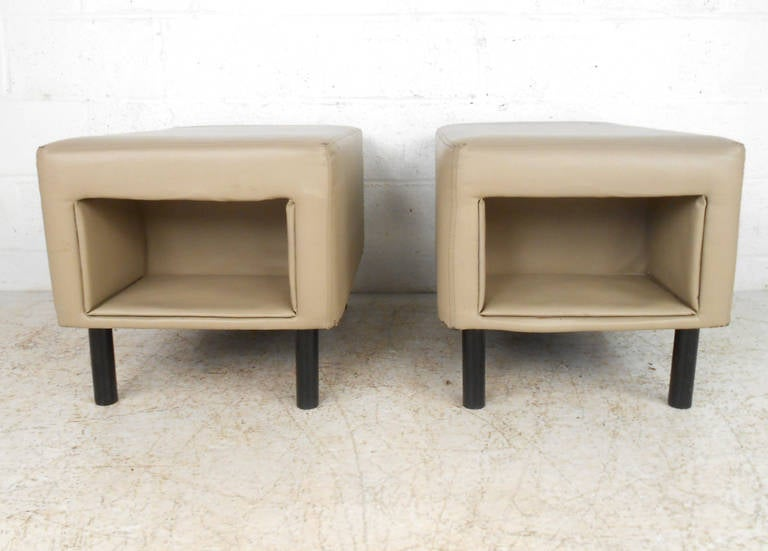 American Pair of Mid-Century Modern Vinyl Storage Ottomans For Sale