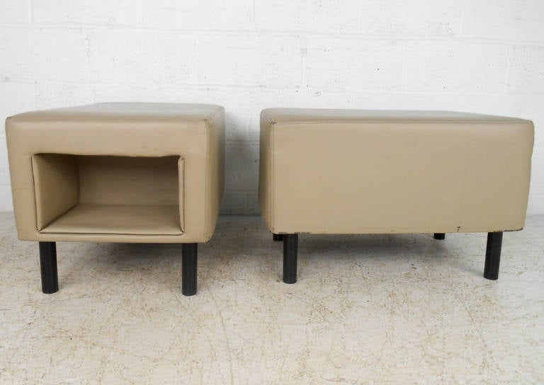 Pair of Mid-Century Modern Vinyl Storage Ottomans In Good Condition For Sale In Brooklyn, NY