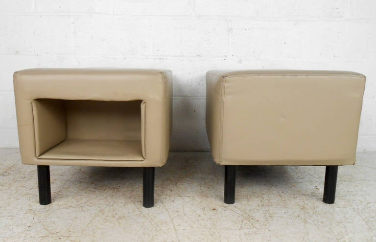 Late 20th Century Pair of Mid-Century Modern Vinyl Storage Ottomans For Sale