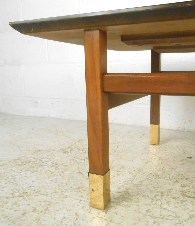 Unusual mid century modern walnut and brass coffee table for Quirky coffee tables