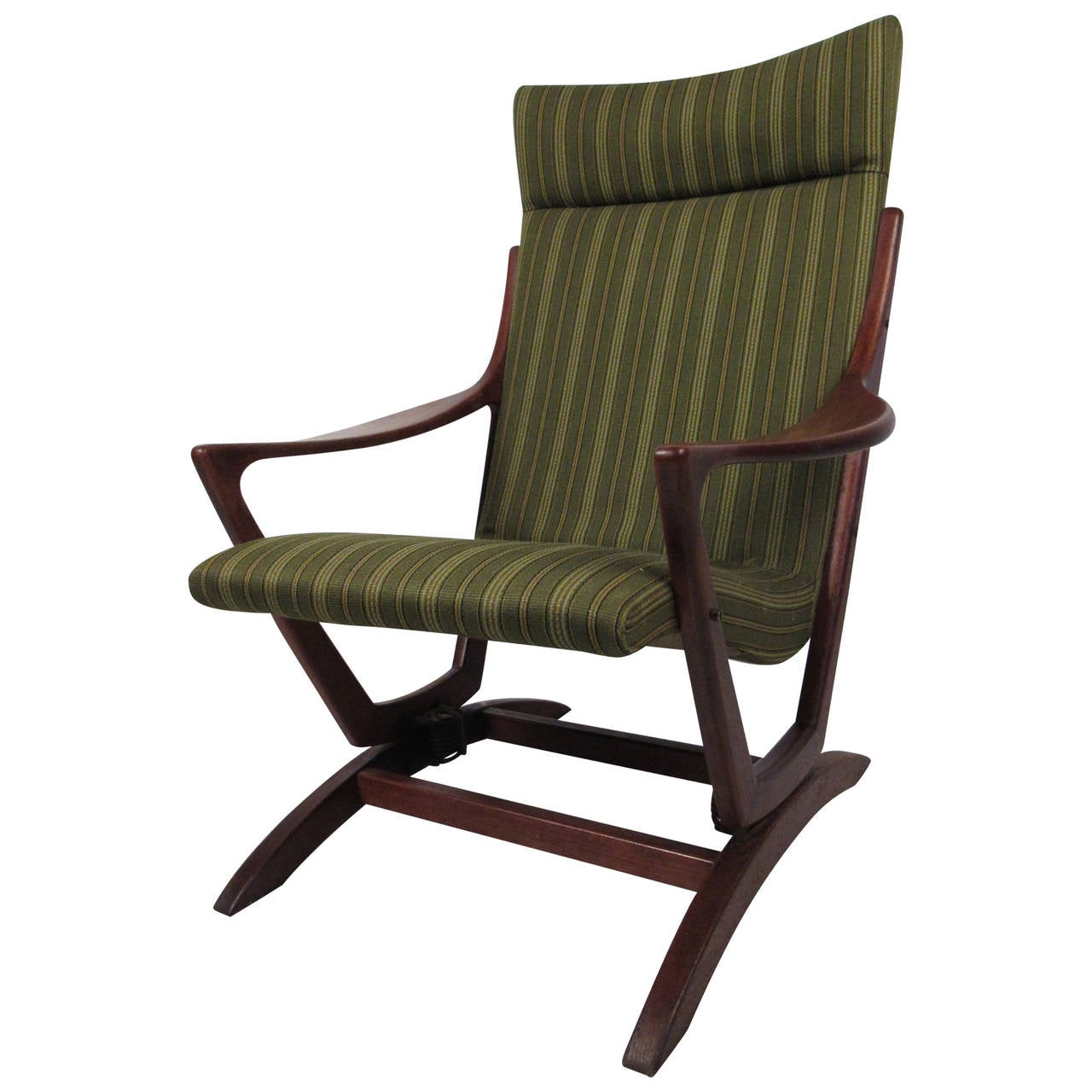 mid century modern walnut frame rocking chair for sale at 1stdibs. Black Bedroom Furniture Sets. Home Design Ideas