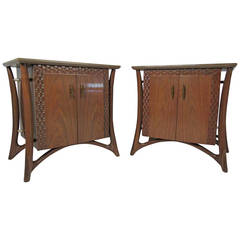 Pair Vintage Nightstands Attributed to Piet Hein