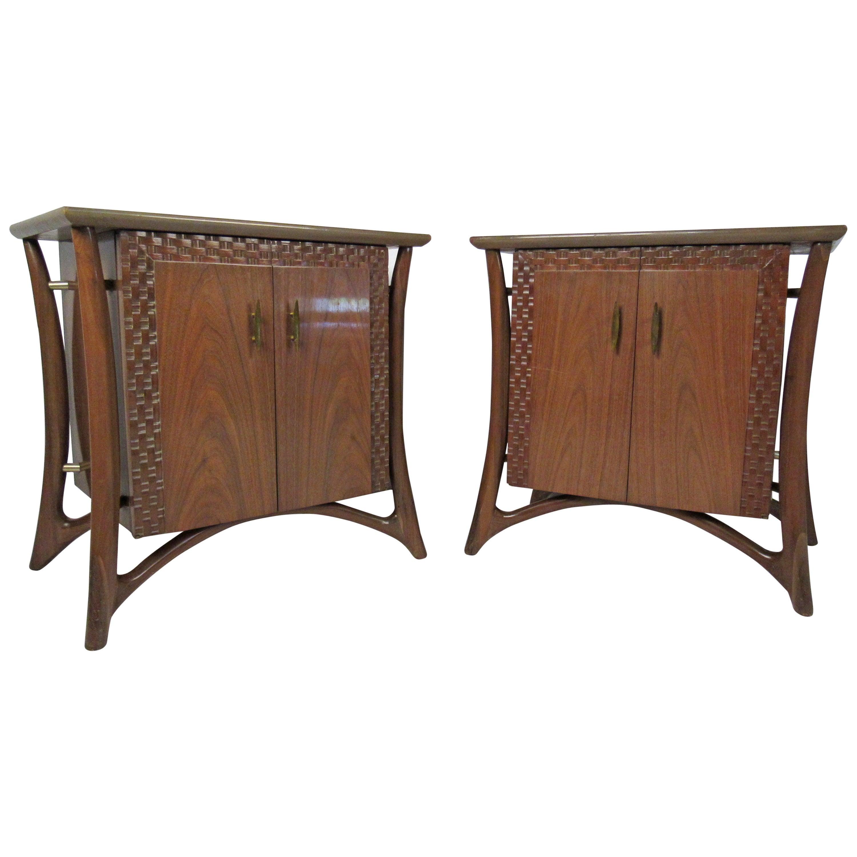 Pair Vintage Nightstands Attributed to Piet Hein