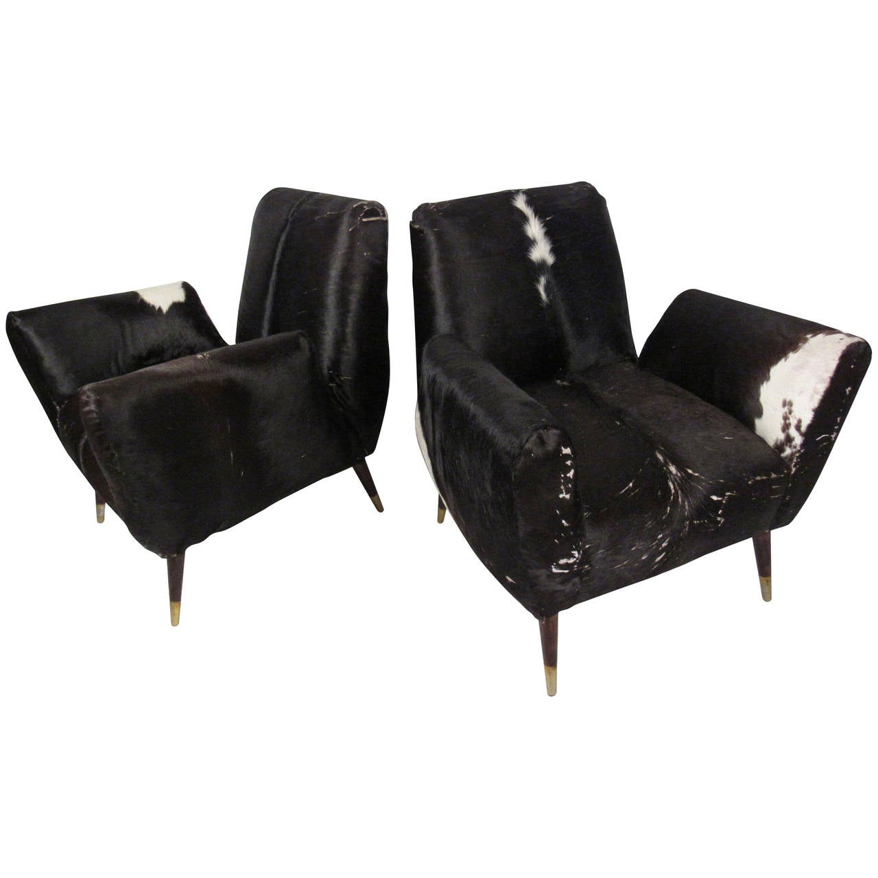 Pair of mid century modern cowhide lounge chairs at 1stdibs