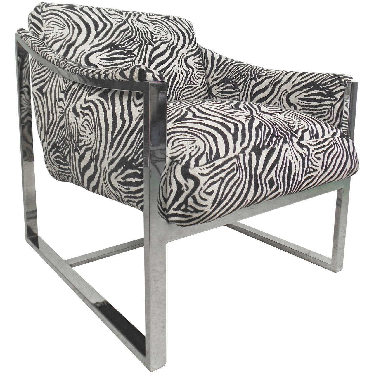 Vintage chrome lounge chair with zebra print for sale