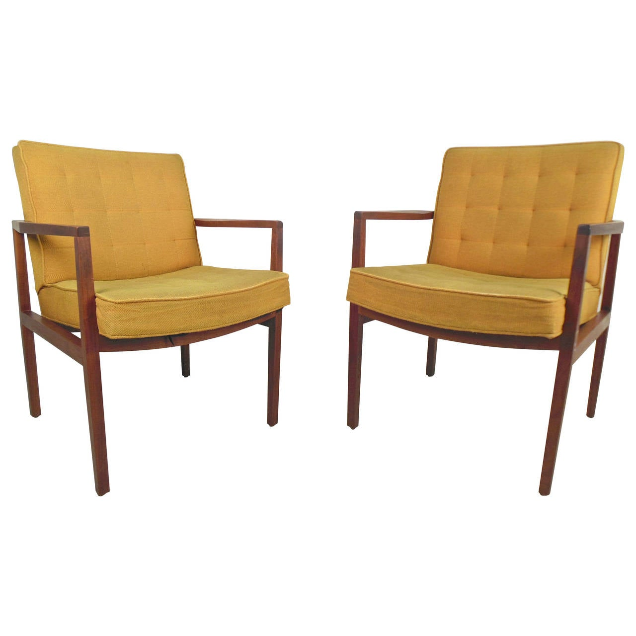 Pair Of Mid Century Modern Walnut Frame Chairs For
