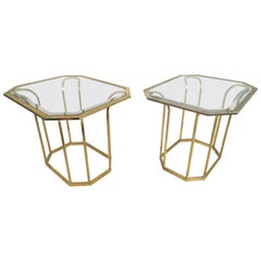 Pair of Brass Tulip Form End Tables