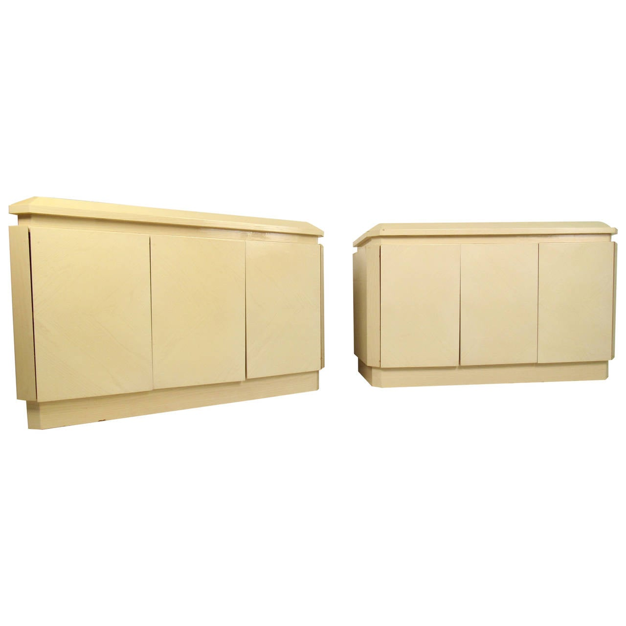 Pair Vintage Modern Lacquer Sideboards