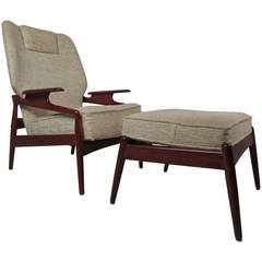 Danish Modern Reclining Lounge Chair and Ottoman