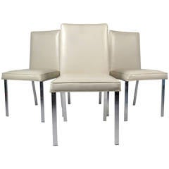 Set of Four Chrome and Vinyl Dining Chairs