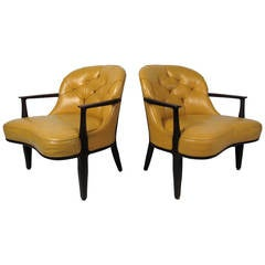 Pair of Yellow Tufted Chairs by Dunbar