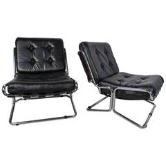 Pair of Chrome and Italian Leather Lounge Chairs