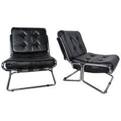 Pair of Italian Chrome and Leather Lounge Chairs