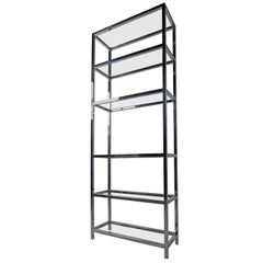 Mid-Century Modern Chrome and Glass Etagere