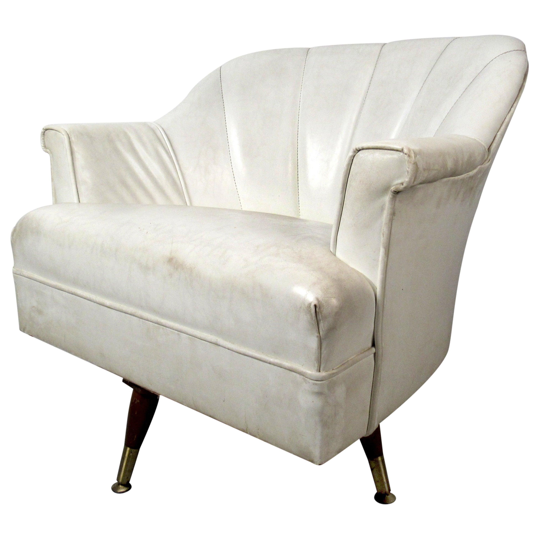 Mid-Century Modern White Vinyl Lounge Chair