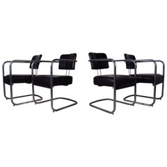 Set of Four Italian Black Leather and Chrome Chairs