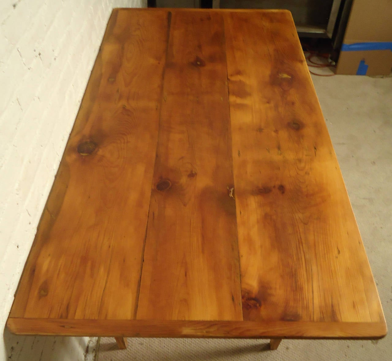 Antique Solid Pine Farm Table With Removable Top At 1stdibs