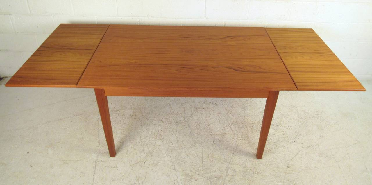 Scandinavian Modern Draw Leaf Dining Table For Sale at 1stdibs